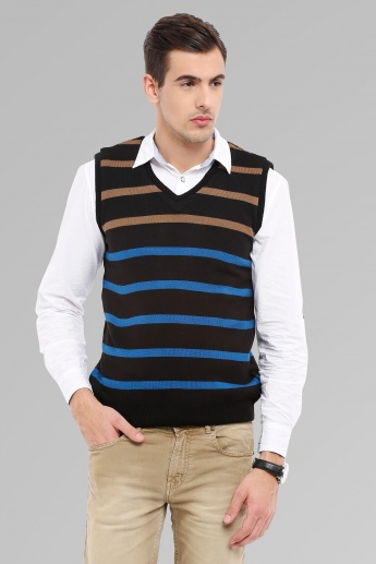 MAX Striped Sleeveless V-Neck Sweater