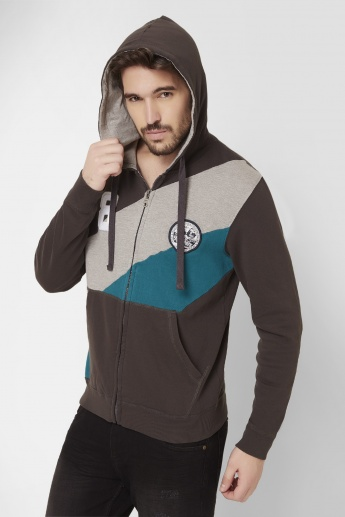 MAX Panelled Front Zip Hooded Sweatshirt
