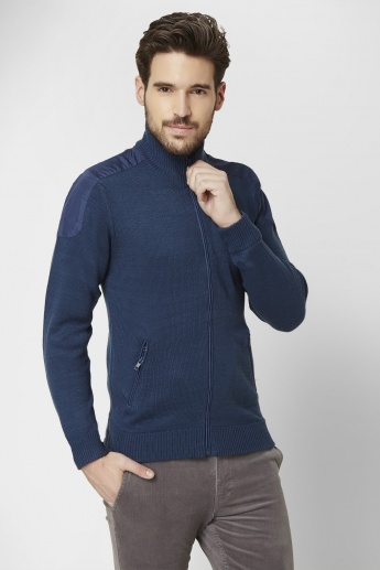 MAX Patch Work Mock Collar Sweater
