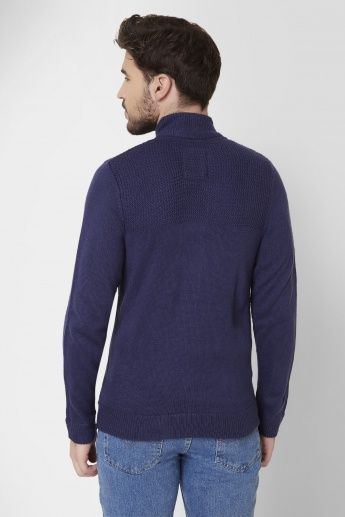 MAX Turtle Neck Mock Button Placket Sweater