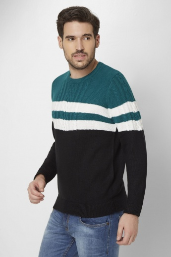 MAX Colour Block Patterned Knit Sweater
