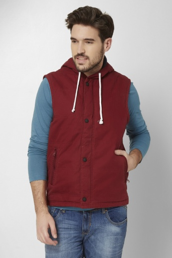 MAX Sleeveless Front Zip Hooded Jacket