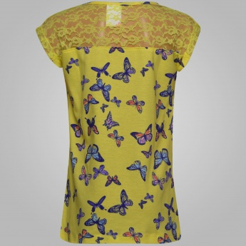 MAX Butterfly Print Laced Shoulder Top