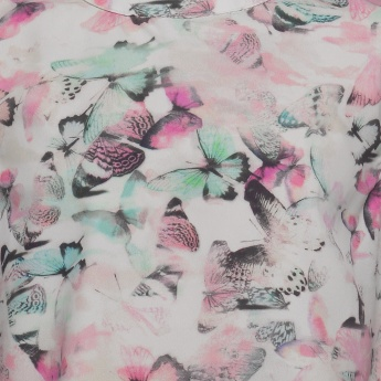 MAX Butterfly Print Band Collar Top
