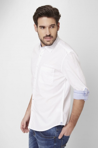 MAX Self Striped Roll-Up Sleeves Shirt