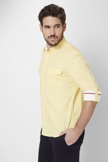 MAX Spread Collar Roll-Up Sleeves Shirt