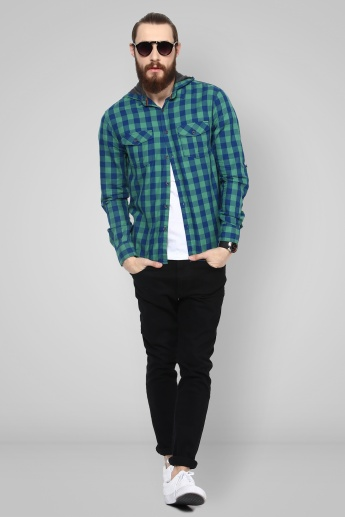 MAX Hooded Checks Printed Shirt