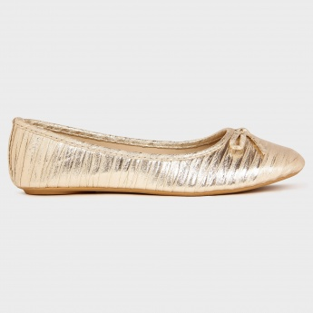 MAX Metallic Bow Detail Ballerinas