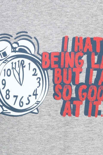 MAX Witty Quote Imprint Crew Neck T-Shirt