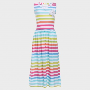 MAX Rainbow Stripes Maxi Dress