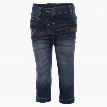 MAX Whiskered Embroidered Jeans