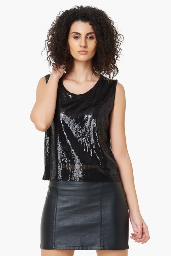 MAX Sequined Sleeveless Top