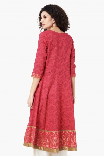 MAX Printed Notch Neck Flared Kurta