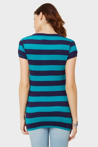 MAX Striped Tie-Up Neck Top