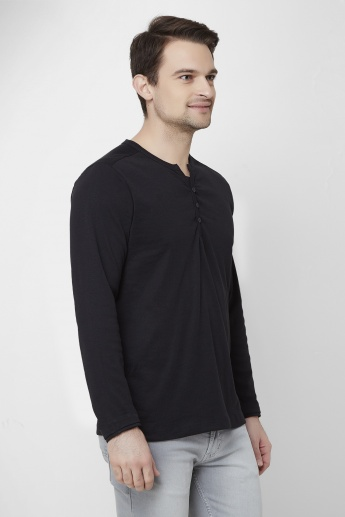 MAX Full Sleeves Henley Collar T-Shirt