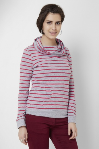 MAX Striped Cowl Neck Sweatshirt