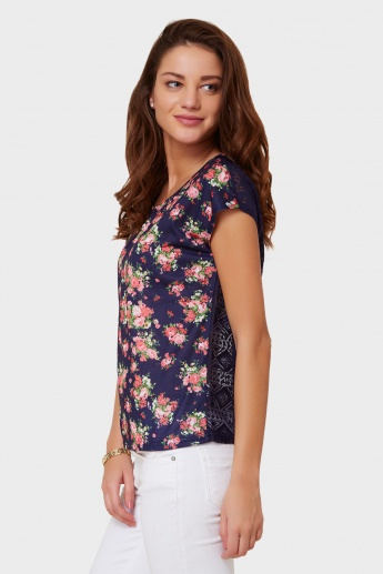 MAX Floral Print Semi-Sheer Back Top
