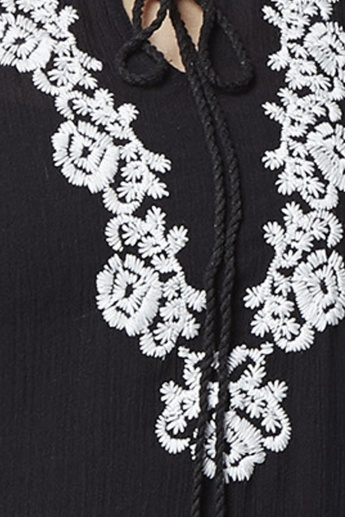 MAX Embroidered Round Tie-Up Neck Tunic