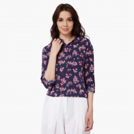 MAX Floral Print Cropped Shirt