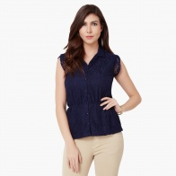 MAX Lacy Cinched Waist Blouse