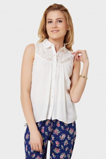 MAX Lacy Top Button-Up Blouse
