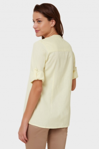 MAX Round Notch Neck Pintuck Top