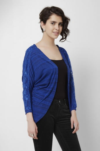 MAX Textured Lace Sleeves Open Front Shrug