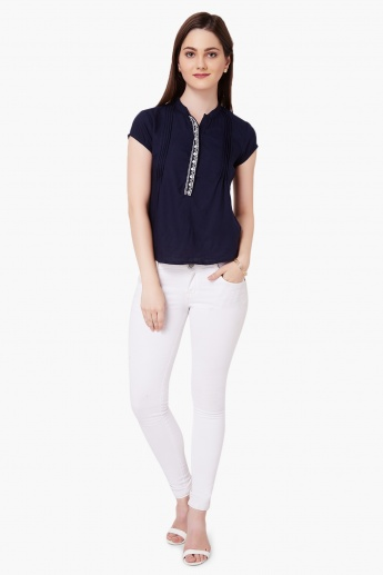 MAX Embroidered Band Collar Top