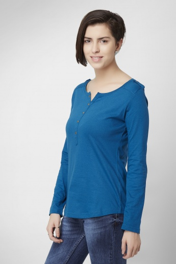 MAX Solid Long Sleeves Knitted Henley Collar Top