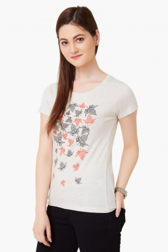 MAX Willow Leafy Print T-Shirt