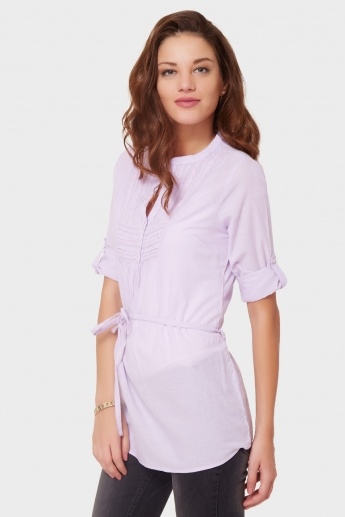 MAX Roll-Up Sleeves Lace Trim Tunic