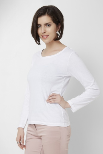 MAX Solid Round Neck Full Sleeves Top