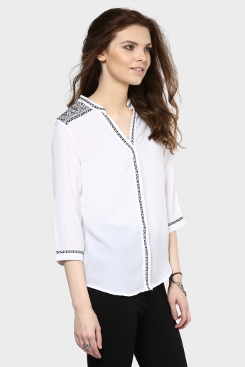 MAX Band Collar 3/4th Sleeves Blouse