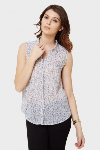MAX Paisley Print Sleeveless Shirt