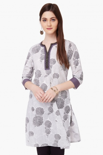 MAX Printed Round Notch Neck Kurti