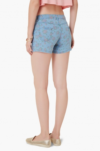 MAX Printed Denim Hot Pants
