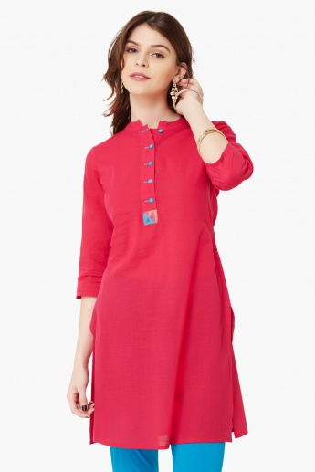 MAX Solid Band Collar Kurti