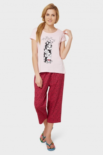 MAX Panda Imprint T-Shirt & Capri Sleep Set