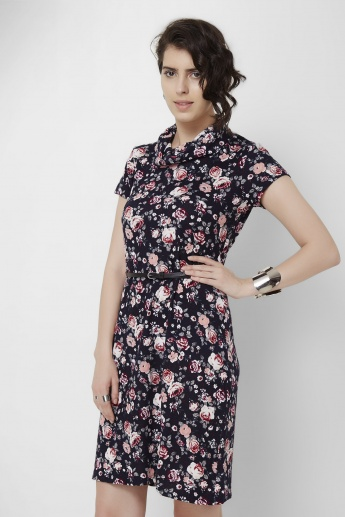MAX Floral Print Cowl Neck Dress