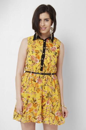 MAX Floral Printed Sleeveless Collared Dress