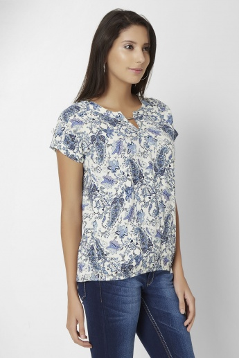 MAX Paisley Print Notch Round Neck Top