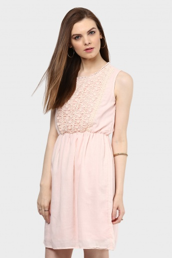 MAX Lace Overlay Fit & Flare Dress