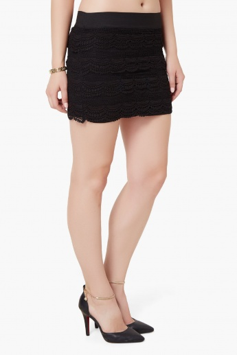 MAX Lace Overlay Short Skirt