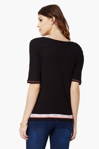 MAX Textured Round Neck Top
